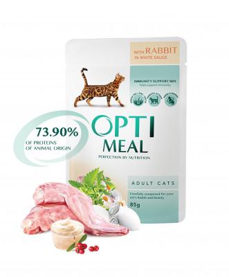 Консервований корм - Вологий корм для дорослих котів з кроликом в білому  соусі