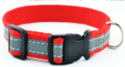 Для собак - Нашийник з полікоттону зі світловідбиваючою стрічкою та пластиковою пряжкою