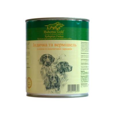 Консервований корм - Консерва Hubertus Gold д/собак з індичкою, вермішеллю та олією із зародків пшеничного зерна