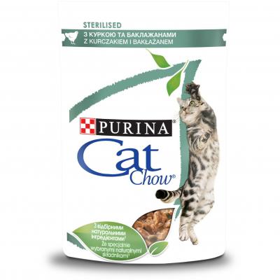 Консервований корм - Sterilised Ніжні шматочки з куркою та баклажанами для кастрованих котів