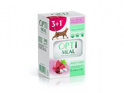 """Консервований корм - Набір """"Adult Cats Veal in Cranberry sauce Вологий корм для дорослих котів з телятиною в журавлиновому соусі"""" (3+1)"""