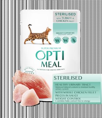 Консервированный корм - Adult Cats Sterilised Turkey & Chicken Влажный корм для стерилизованных кошек и кастрированных котов с индейкой и куриным филе в соусе