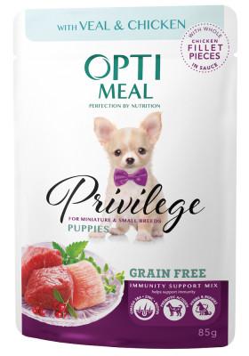 Консервований корм - Privilege Grain Free Puppies Veal & Chicken Беззерновий вологий корм для цуценят мініатюрних та малих порід з телятиною та курячим філе у соусі