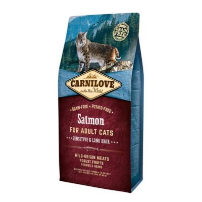 Сухий корм - Беззерновий корм для котів  Salmon Sensitive & Long Hair з лососем