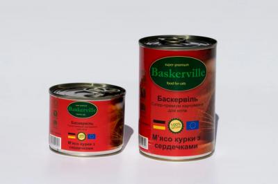 Консервований корм - Консерва Баскервіль д/котів зі смаком м'яса курки з сердечками
