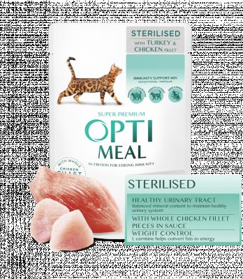 Консервований корм - Вологий корм для стерилізованих кішок та кастрованих котів з індичкою та курячим філе в соусі