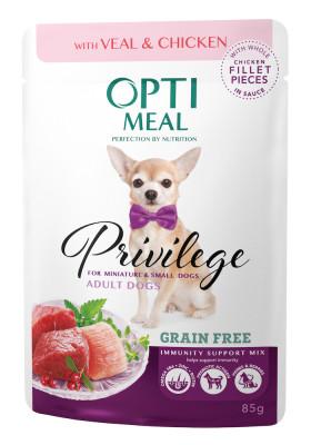 Консервированный корм - Privilege Grain Free Adult Dogs Small & Mini Veal & Chicken Беззерновой влажный корм для взрослых собак миниатюрных и малых пород с телятиной и куриным филе в соусе