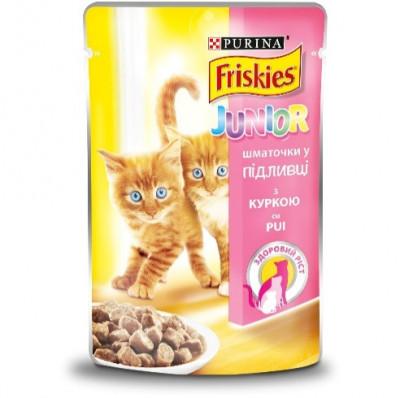 Консервированный корм - Junior Кусочки в подливке с курицей для котят
